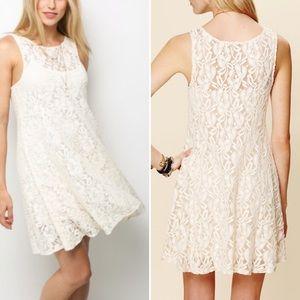 Free people miles of lace dress cream sleeveless S